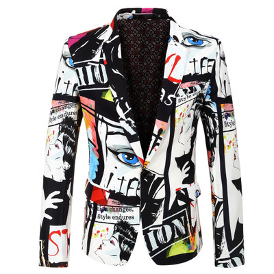 2018 New Tide Mens Fashion Print Blazer Design Plus Size Hip Hot Casual Male Slim Fit Suit Jacket Singer Costume