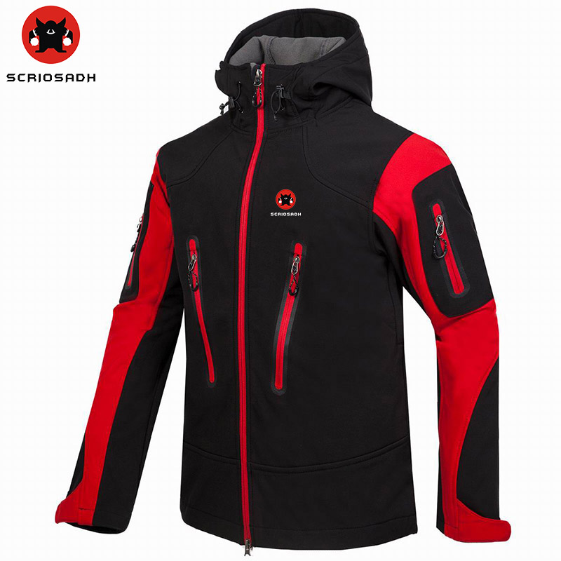 SCRIOSADH Men's Windbreaker Waterproof Outdoor Soft Shell Climbing Jacket Quick Dry Fleece Keep Warm Hiking Skiing Jacket