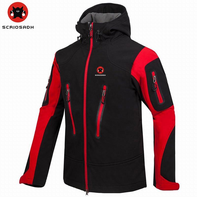 SCRIOSADH Men's Windbreaker Waterproof Outdoor Soft shell Climbing Jacket Quick Dry Fleece Keep Warm Hiking Skiing Jacket