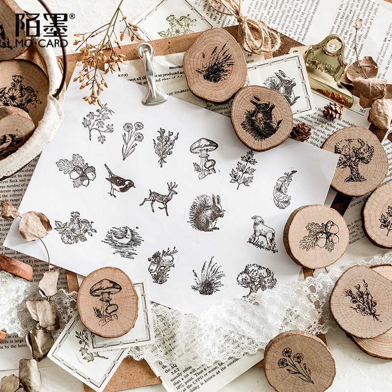 Vintage Forest Mailbox Animal Plant Decoration Stamp Wooden Rubber Stamps For Scrapbooking Stationery DIY Craft Standard Stamp