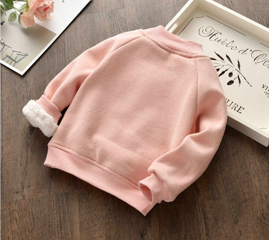 Baby Girls Sweatshirts Winter 2018 New Girl Long Sleeve Warmer Children Clothes Kids Autumn Letter Plus Velvet Sweater For Girls