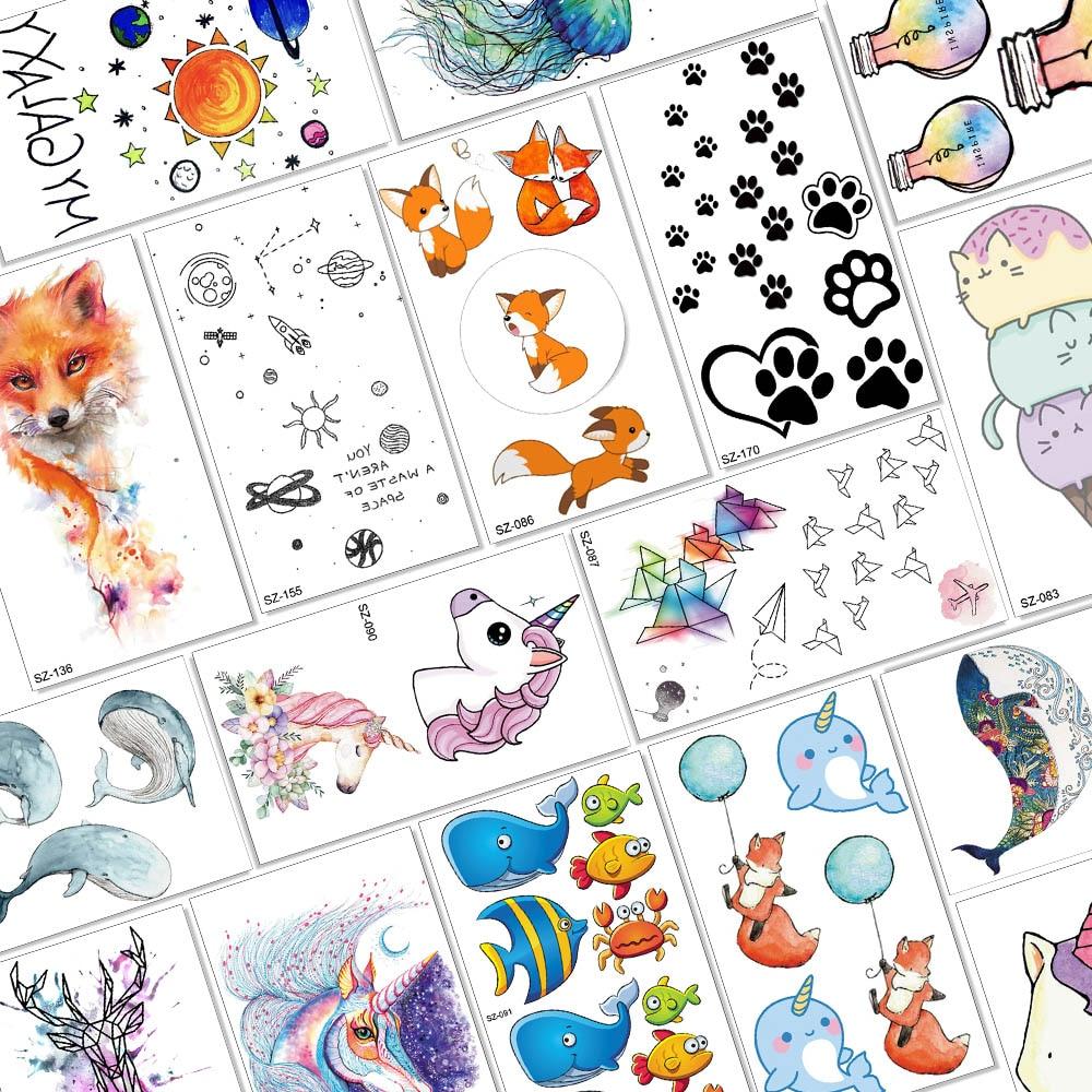 Children Cartoon Temporary Tattoos For Kids Cute Fox Unicorn Dog Paw Star Planets Waterproof Fake Tattoo Paper Body Arm Tatoos(China)