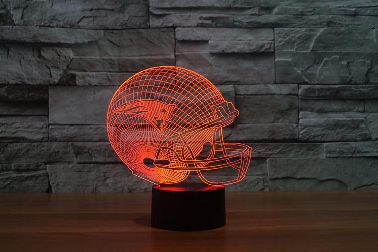 3D New England Patriots Logo Nfl Collezione Casco Da Football di Visual Lampada Home Decor Lampada Da Tavolo A LED luce di Notte di Goccia nave