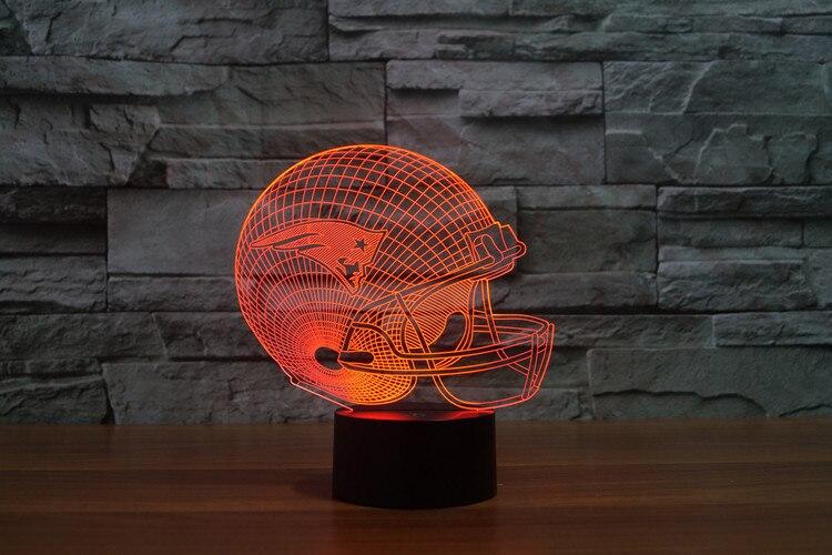 3D New England Patriots Logo Team Sammlung Football Helm Visuelle Lampe Wohnkultur LED Tisch Lampe Nacht licht Drop Schiff