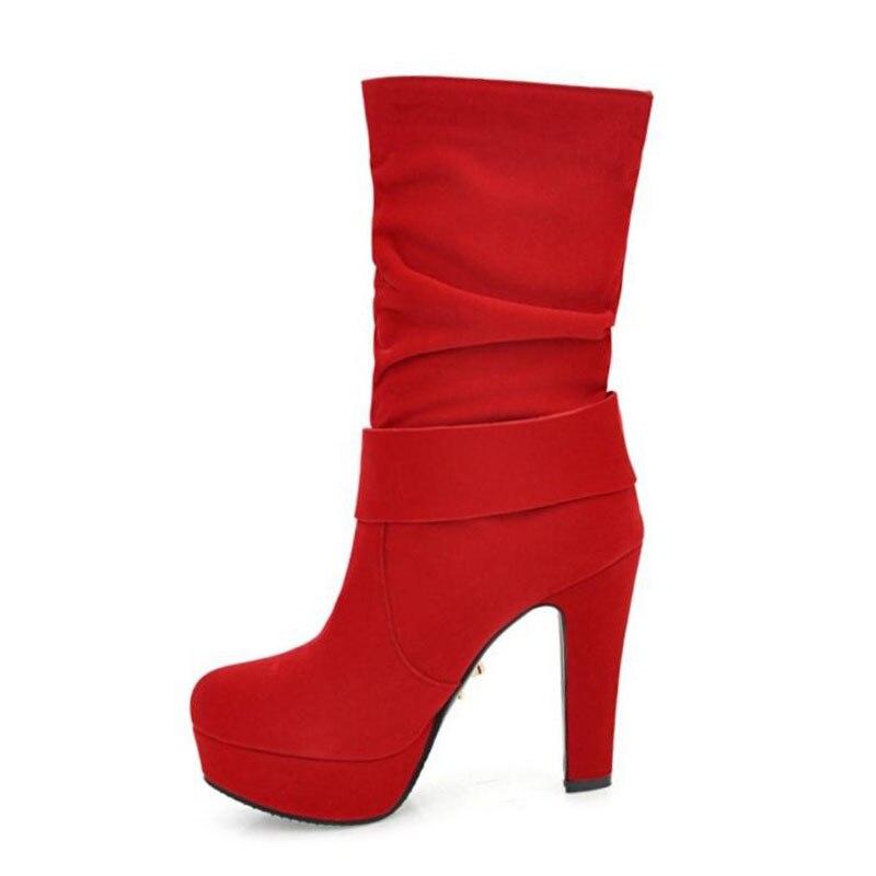 Noir Bottes À Bowknot Talons Courtes Pour 33 Hauts Fourrure Taille Hiver De 43 Femmes Moitié rouge forme Chaussures Plate Chaud Mode Razamaza 7xEw4pRnqa