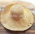 Женская мода Широкий Большой Брим Floppy чехии Японии складной Вс Соломенная Шляпка Cap для взрослых 57 см
