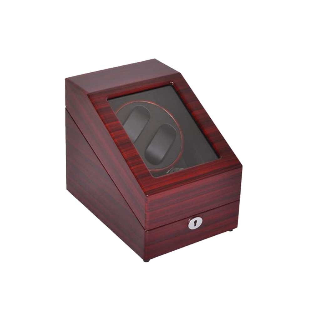 Watch Winder ,LT Wooden Automatic Rotation 2+3 Watch Winder Storage Case Display Box (Outside is rose red and inside is black) цена и фото