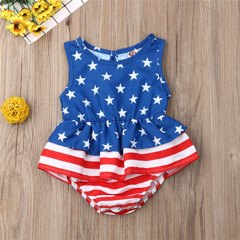 Fourth Of July Baby Girls Clothes   Rompers   Sleeveless Tutu Jumpsuit Toddler Kids Playsuit Summer Baby Clothes Girls 0-18