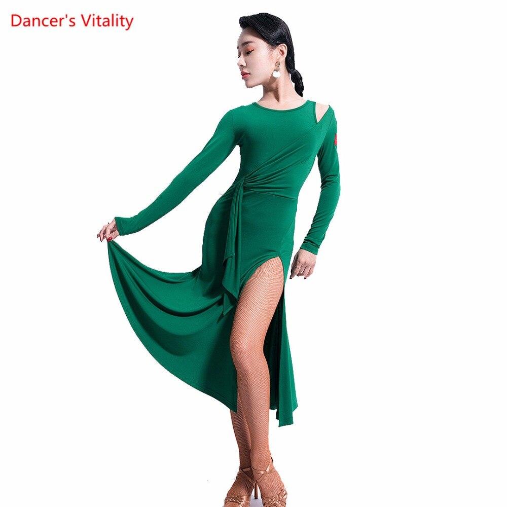 8be2f135 Vestidos de baile latino Sexy Split ropa de práctica para adultos mujeres  Latino Rumba Samba Salsa baile escenario trajes de actuación
