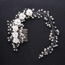 Perlas de Plata magnífico Cristales Claros Flor Peine Del Pelo de La Boda Venda Nupcial Floral Adornos Para El Cabello accesorios para el Cabello