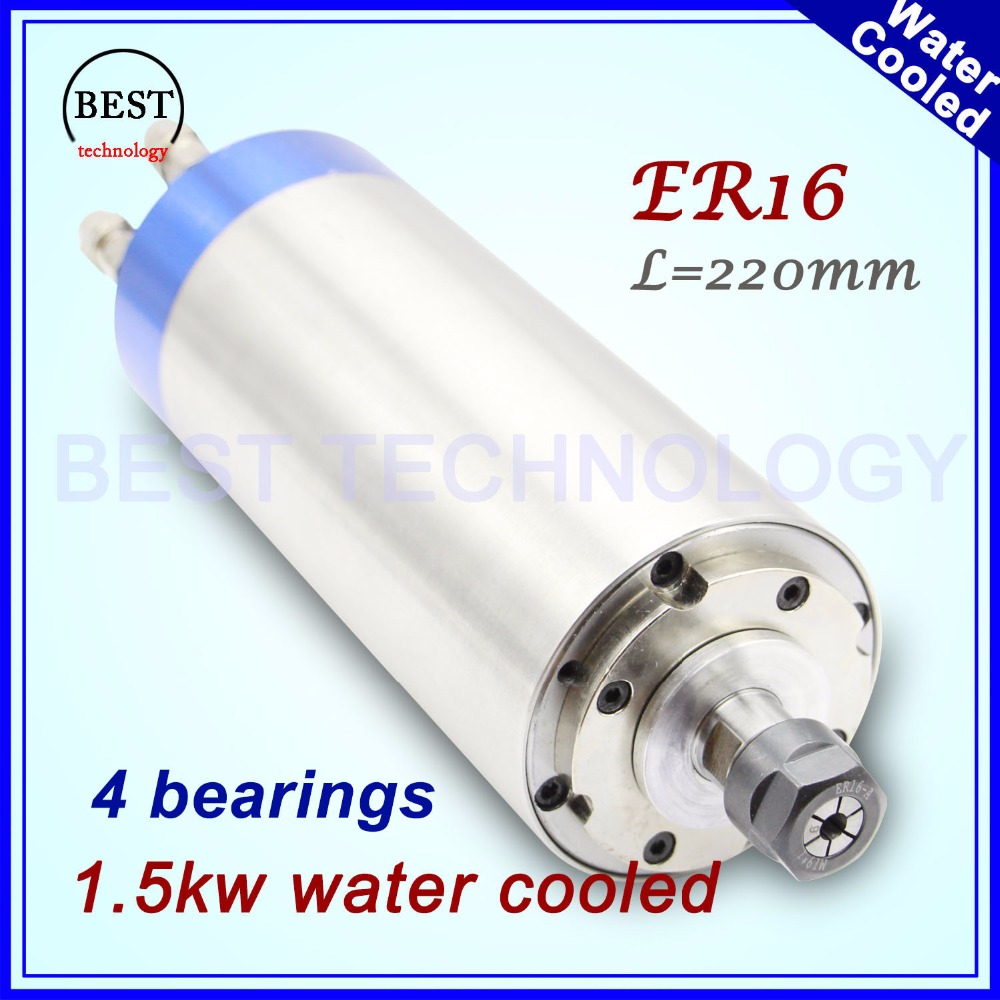 220v 1.5kw water cooled spindle ER16 400Hz water cooled spindle 80x220mm 4 bearings CNC spindle motor for engraving drilling 2 sets water cooled