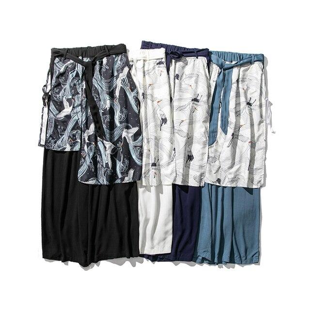 Sinicism Store Patchwork Flower Cotton Pants Mens Summer 2020 Chinese Style Loose Pants Male Wide Leg Pants Baggy Pants 15