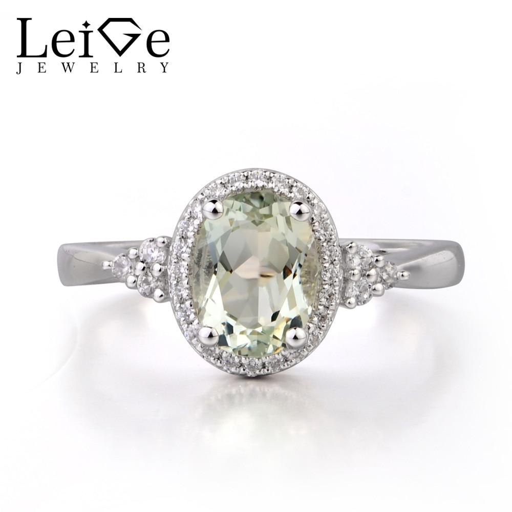 купить Leige Jewelry Natural Green Amethyst 925 Sterling Silver Ring Fine Gemstone Oval Cut Engagement Wedding Ring Gifts for Women по цене 6323.77 рублей