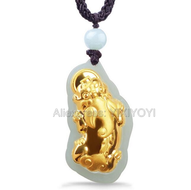 Beautiful Natural White Hetian Jade + 18K Solid Gold Inlaid Chinese PIXiu Lucky Amulet Pendant + free Necklace Fine Jewelry
