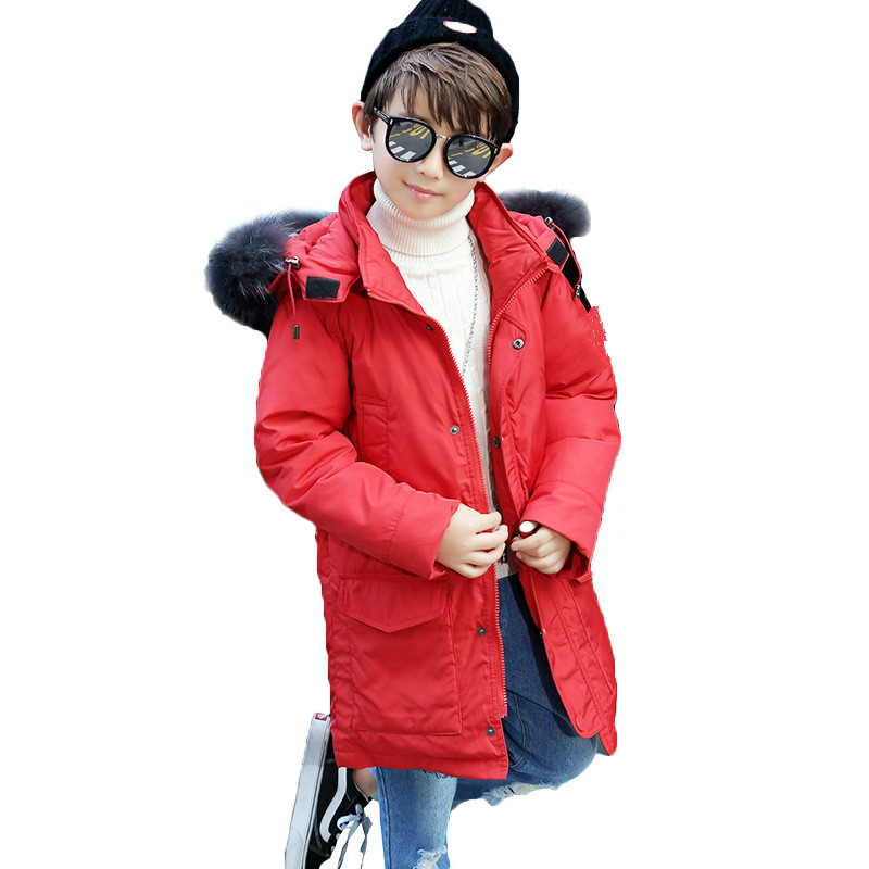 Down Jacket Winter New Children Big Children Thickening Warm Medium Long Long Hat Real Hair Collar Fashionable Boys and Girls.