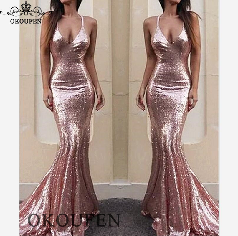 Sexy Spaghetti Strap Pink Sequined Mermaid   Prom     Dresses   2019 Backless Long Pageant Evening   Dress   For Women Vestidos De Gala