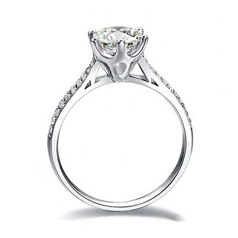 YHAMNI bijoux originaux 925 bague en argent incrusté 6 MM 1 Carat Zircon pierre CZ Diamant bagues de fiançailles pour les femmes de mariée AR009