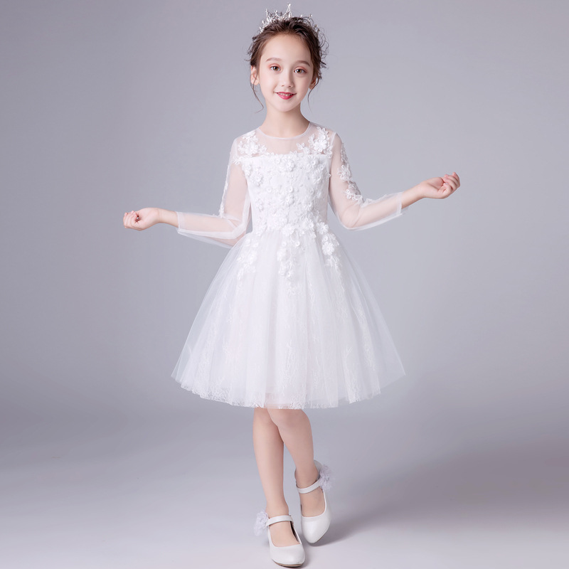2019   Flower     Girls     Dresses   For Weddings   Flowers   White Backless Princess Children Birthday Party First Communion   Dresses   New