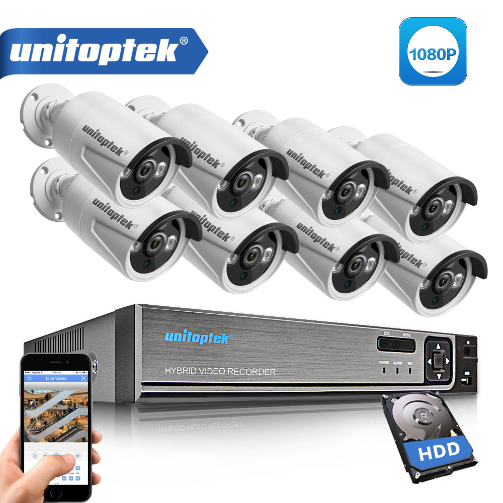 8CH CCTV System 1080P 5 IN 1 AHD DVR 8Pcs 2.0MP IR Security Camera Outdoor IP66 Waterproof AHD-H Surveillance System DIY Kit цена