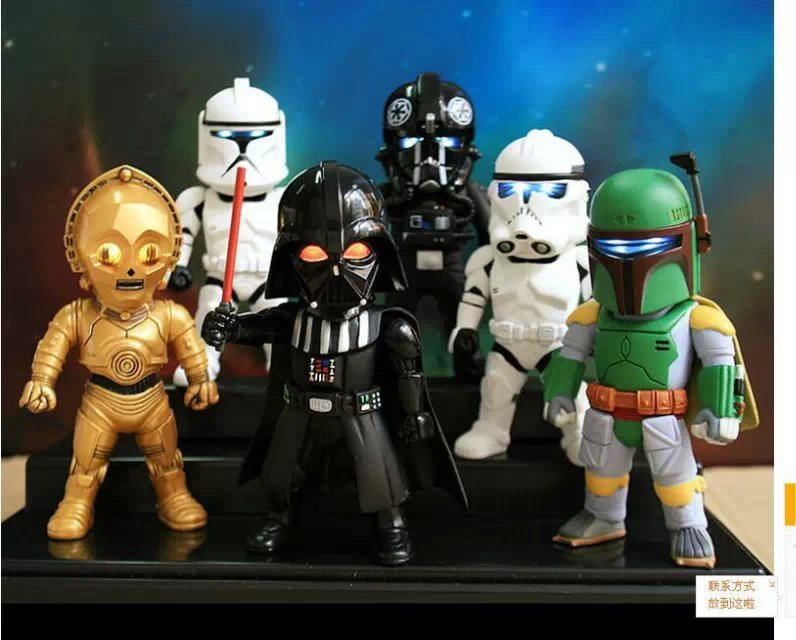 SAINTGI 6pcs/set Star Wars Q Version White Black Knight Darth Vader Action Figures 10cm STORMTROOPERS PVC ecollection Model Toy green apple green apple квадратный горшок с автополивом на колесиках 45 45 42 красный