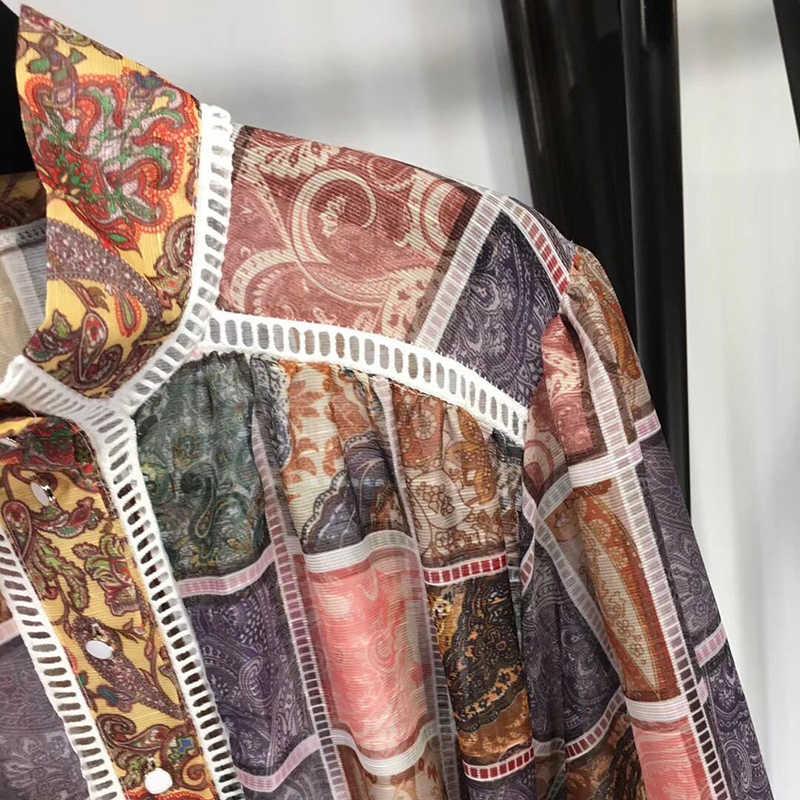 CHICEVER летнее винтажное платье с принтом, в клетку для женщин, стоячий воротник, рукав-фонарик, высокая талия, пояс, оборки, подол, а-силуэт, платья