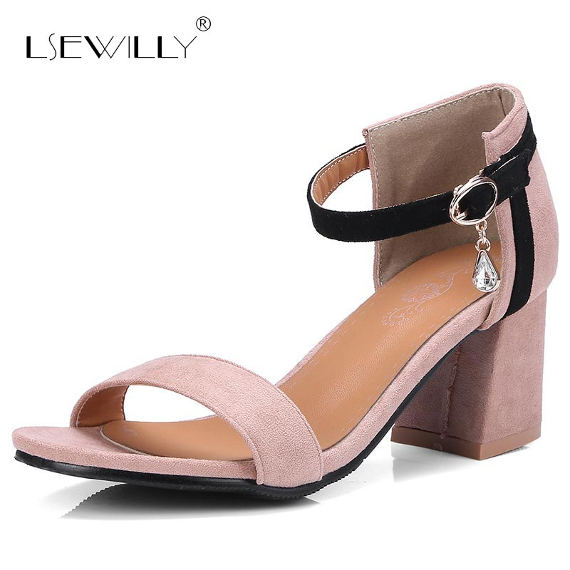 Lsewilly 2018 Summer Sandals Women Thick Heel Peep Toe Buckle Shoes For Woman Ankle Strap Fashion Lady Sandals Size 32-46 S045 women sandals 2018 fashion summer shoes woman rome ankle strap flat sandals casual peep toe gladiator sandals low heel shoes