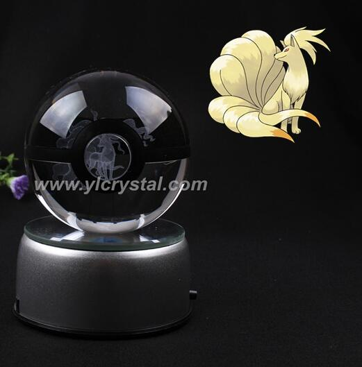 New Style Good Quality Pokemon Ball With Engraving Ninetale Crystal Ball With Free Shipping With Gift Box
