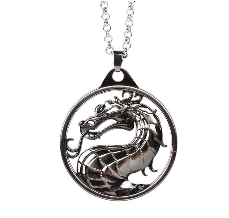 ZRM модный винтажный брелок для ключей Mortal Kombat с изображением дракона тотема, брелок для ключей из сплава, подарок для мужчин, аксессуары для автомобильных ключей - Цвет: Black Necklace