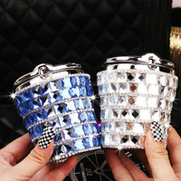 High Grade Diamond Bling Portable Auto Car Smokeless Car Ashtray Cylinder Cup Holder With Led Lamp