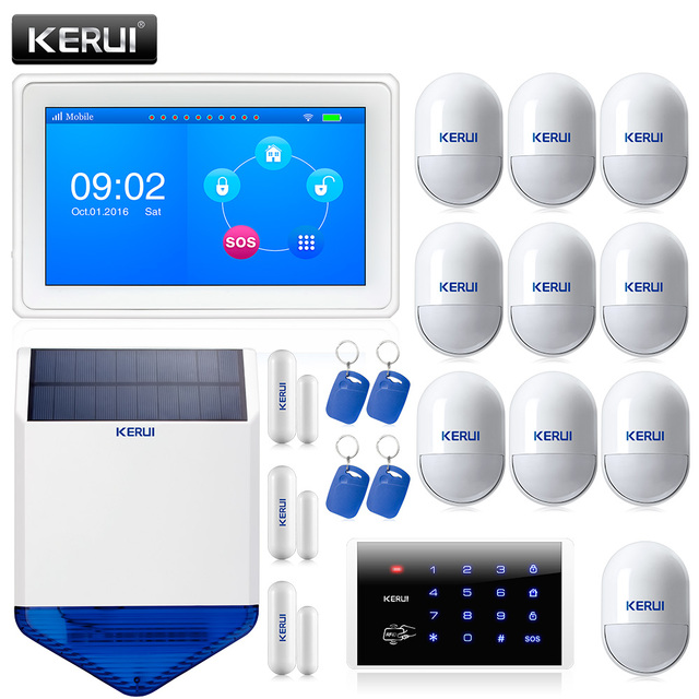 Best Offers K7 Color Display Touch Screen WiFi GPRS GSM Multiple Pattern Burglar Home Security Alarm System