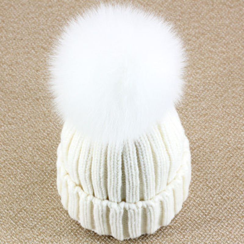 Fox fur ball cap pom poms winter hat for kids girl's wool hat knitted cotton beanies cap brand new thick children bobble hat 100