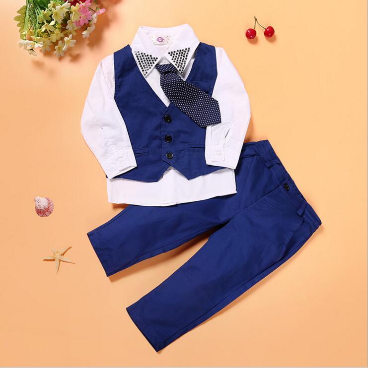 חליפת נערים מזדמנים בגדי חג המולד כחול עניבה + חולצה + Vest + צפצף 4 יחידות KL-1542