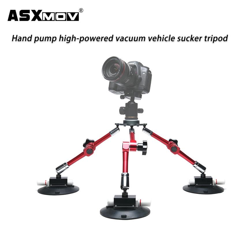Alliage d'aluminium forte pompe à main voiture ventouse support de montage de caméra trépied vidéo pour gopro pour tous les caméscopes dslr