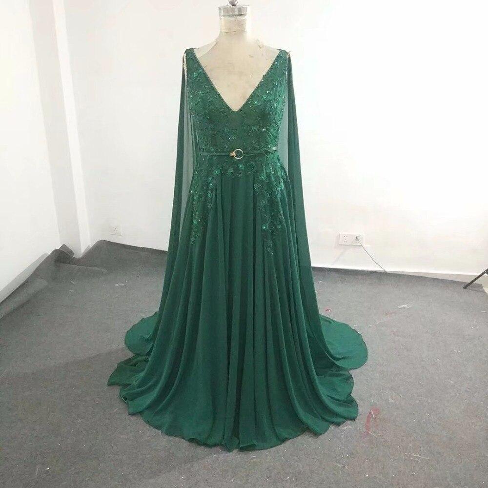 Elie_Saab robe de demoiselle d'honneur vert noirâtre perspective bretelles transparentes col en V longueur Court train cristal perlé mousseline de soie