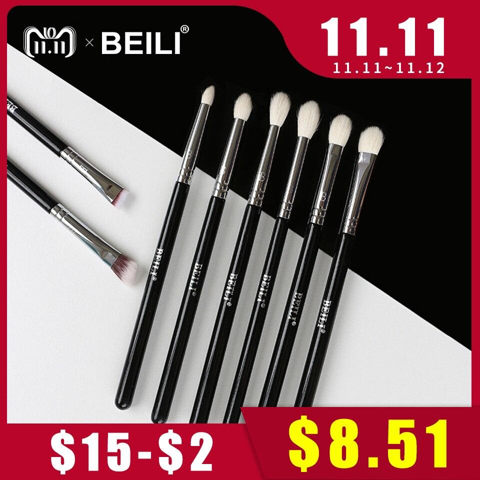 BEILI 8 piezas clásico negro Pro herramienta cabra pelo sintético sombra de ojos mezcla de brochas de maquillaje ahumado conjunto