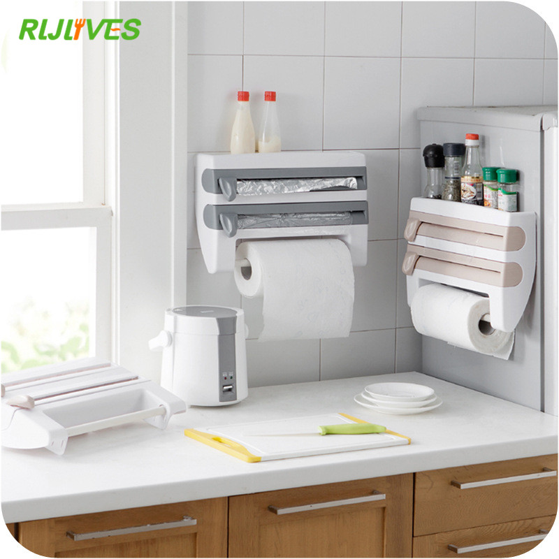 Storage Rack Paper-Towel-Holder Bottle Kitchen-Shelf Foil Plastic Wrap-Cutting Sauce title=