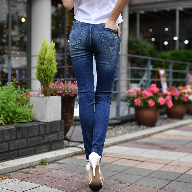 Dabuwawa autumn new style temperament fashion slim slimming   jeans   feet pants women's trousers