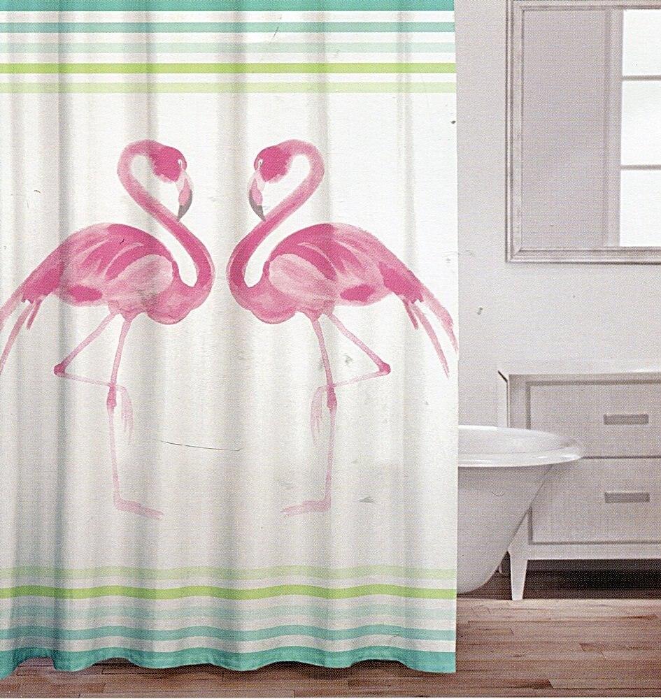 Caro Flamingo Fabric Shower Curtain
