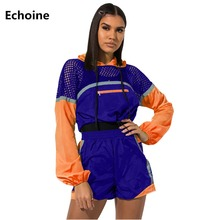 New Women Fishnet Hollow Out Two Piece Set Hoodies Crop Top and Shorts Patchwork Sweatshirt Set Tracksuit Club Outfit Shorts Set fishnet legging shorts