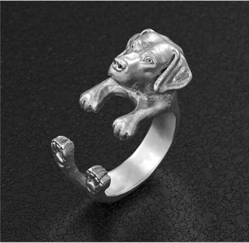 Einzigartigen, Handgefertigten Boho Chic Retro Labrador Retriever Ring Weiblichen und Männlichen Tier Liebhaber Geschenk Idee -- 12 teile/los (3 farben Freie Wahl)