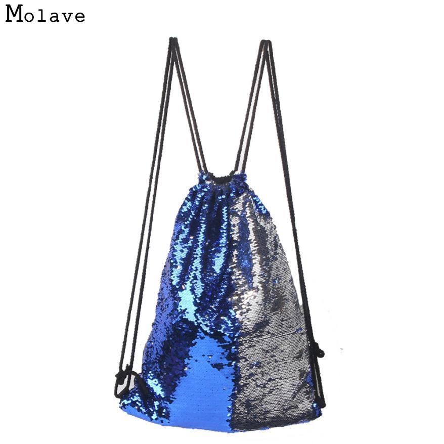 Naivety 2017 Drawstring Bag Sequins Backpack Fashion Casual Double Color Unisex Bags Zipper Pocker 30S7427 drop shipping elegant round collar sleeveless scalloped hollow out red dress for women