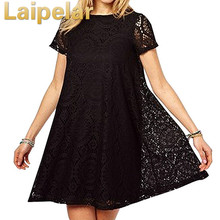 цена на Laipelar 2018 New Summer Lace Print Dress Casual Sundress Loose O Neck Short Sleeve Hollow Out Slim Beach Sundress Plus Size 5XL