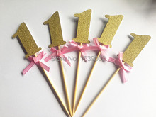 Gold Glitter Number One Cupcake Topper with Pink Ribbon 30pcs/lot  Free Shipping