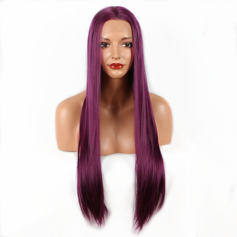 High Temperature Fiber Pervado Hair Straight Lace Front Hair Wigs Long Purple Pure Color Synthetic Cosplay