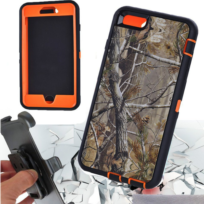 For Samsung S4 S5 S6 S7 Edge S8 Plus IPhone 4 5 5s SE 6 6S 7 8 Cover with Belt Clip Holster Built-in Screen Full Body Protective