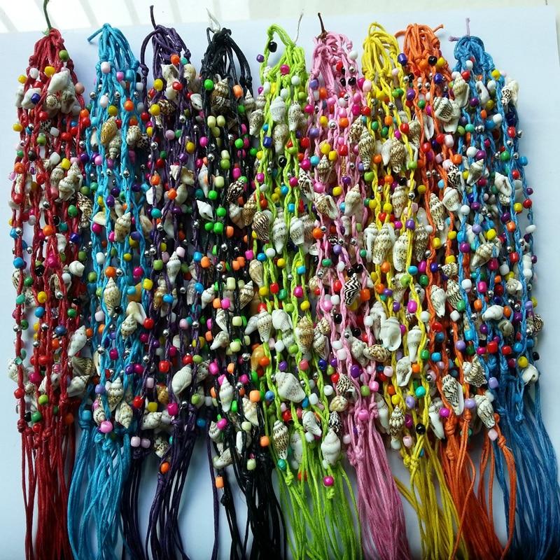 120pcs/lot  Handmade Bohemian Brazil Woven Braided Shell Conch Beaded Wax Rope String Rosary Friendship Bracelet