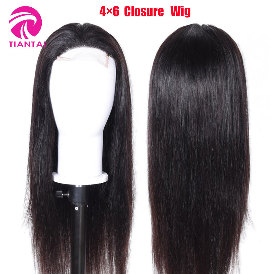 30 Inch Wig Straight 4x6 Closure Wigs Lace Front Human Hair Wigs Brazilian Remy Deep Part For Woman  Bleached Knots 150 Density(China)