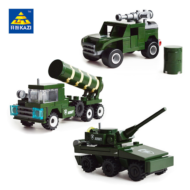 KAZI Military Tank Humvees Trucks Model Building Block Bricks Brinquedos Intelligent Toys for Children 6+Ages 80001 80002 80003 kazi military building blocks army brick block brinquedos toys for kids tanks helicopter aircraft vehicle tank truck car model