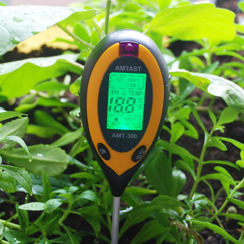 4 in 1 soil pH analysis test instrument measuring thermometer hygrometer light with battery Garden Plant Digital Soil Tester