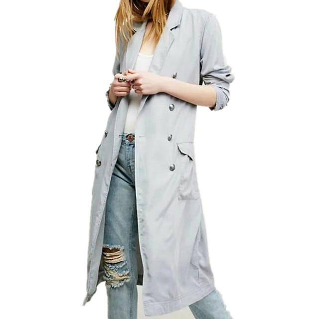 New European Double Breasted Drawstring Long Windbreaker Fashion Turn-down Collar Slim Winter Coat Women S0802